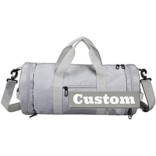 FireH Nome personalizzato Nome personalizzato Tote Backpack Donne Borsone Borsa da palestra Donna Scarpe da ginnastica Palestra (Color : Grey, Size : One size)