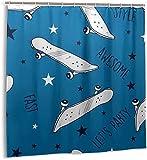 Duschvorhang Skateboard Blau Wasserdichter Stoff Badvorhang für Badezimmerdekoration mit Haken 180*180cm oein