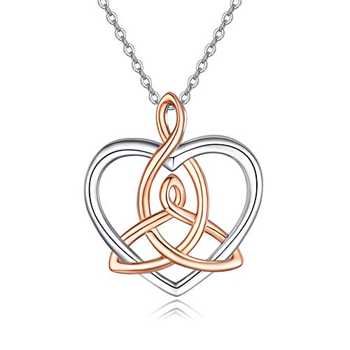 JUSTKIDSTOY Celtic Necklace for Women Sterling Silver Heart Pendant Necklaces Good Luck Irish Celtic Knot Jewelry Gifts
