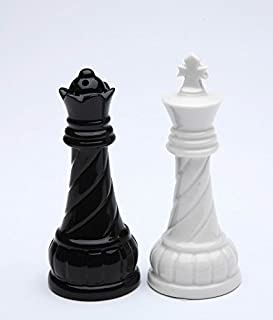 Fine Porcelain Chess King and Queen Salt & Pepper Shakers Set, 3 5/8