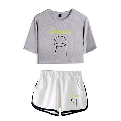 JHDESSLY Crop Tops de dos piezas conjunto de camiseta de manga corta y pantalones cortos traje de moda chica conjunto sexy Crop Top Tee