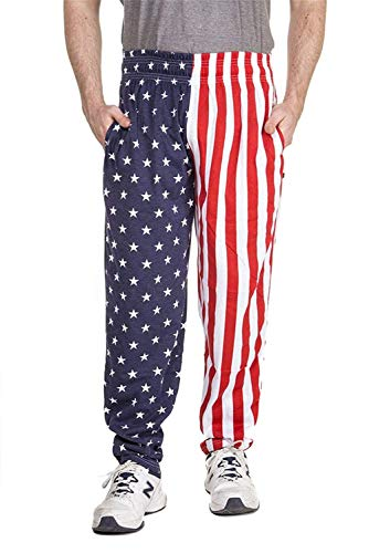 BesserBay Mens Us Flag American Pants Patriotic Lounge Pants Fourth of July Baggy Workout Pants M