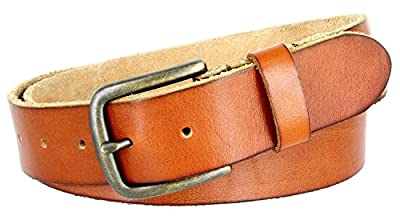 Classic Oil-tanned Genuine Leather Casual Jean Belt (Tan, 32)