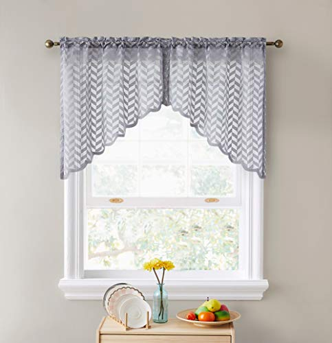 """HLC.ME Herringbone Semi Sheer Voile Kitchen Cafe Curtain Panels - Rod Pocket - Tiers, Swags & Valances for Small Windows & Bathroom - 30"""" Wide x 36"""" Inch Length (Silver Grey Swags, Set of 2)"""