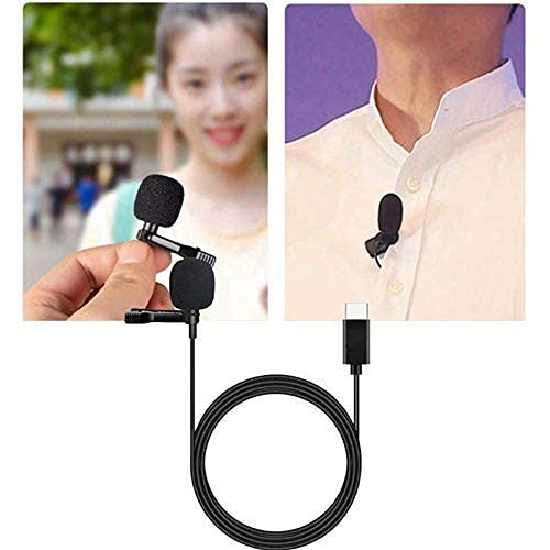 Rambot Type-C Clip Microphone for Collar Mike for Voice Recording,Mic Mobile, Pc, Laptop, Android Smartphones, DSLR Camera (Black)