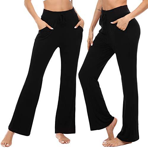 Irevial Pantaloni da Yoga Donna in Cotone con Tasche,Modal Pantalone Sportivi in Elastici Vita Alta con Coulisse, Morbidi Pantaloni della Tuta Donna per Jogging Fitness Uscire,Nero.XL