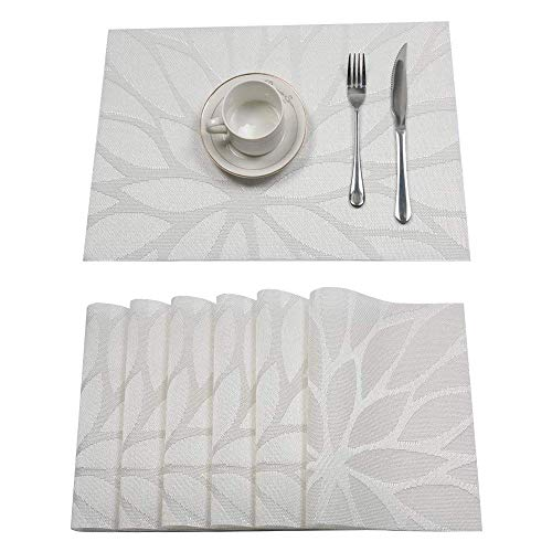 Pauwer Platzset 6er Set rutschfest Abwaschbar Tischset PVC Abgrifffeste Hitzebeständig Platzdeckchen für Zuhause Restaurant Speisetisch(6er Set, Weiß)