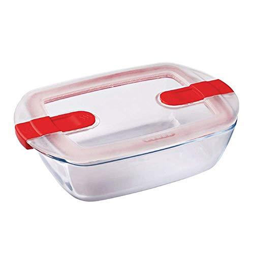 Pyrex - Cook & Heat - Plat Rectangulaire en Verre avec Couvercle Hermétique Spécial Micro-ondes – Boîte de conservation – Cuisinez au four, Conservez et Réchauffez, 23 x 15 x 6 cm