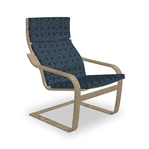 ABAKUHAUS Antique Oriental Poäng Sessel Polster, Dunkler Filigrane, Sitzkissen mit Stuhlkissen mit Hakenschlaufe und Reißverschluss, Schiefer-Blau Nachtblau