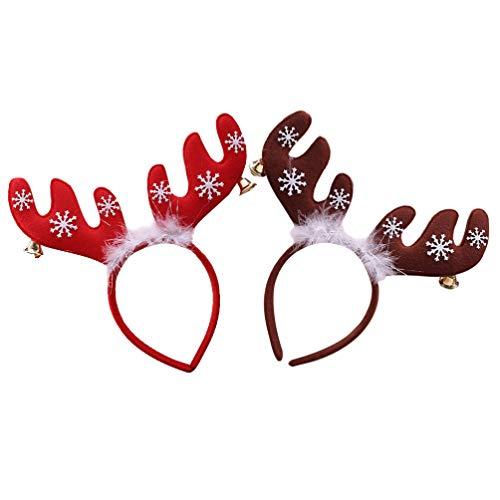 Amosfun 2 Stücke Rentier Geweih Haarreif mit Glocken Feder Kopfschmuck Weihnachten Haarschmuck Elch Kopfbedeckung Kinder Erwachsene Party Kostüm Zubehör