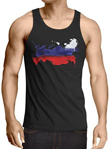 CottonCloud Flagge Russland Herren Tank Top Fußball Sport Russia WM EM Fahne, Größe:XL, Farbe:Schwarz