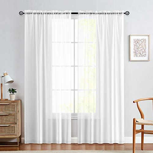 TOPICK Transparent Voile Gardinen Vorhänge Für Wohnzimmer Mit Stangendurchzug 213 x 140 cm(H x B) 2 Stücke Weiß