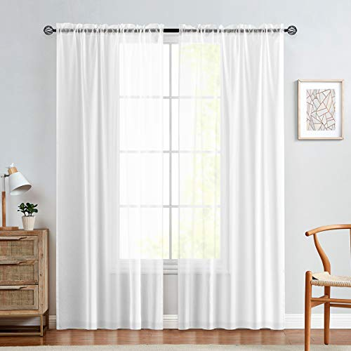 jinchan 2 Panel Sheer Curtains White 84 inch Living Room Drapes Window Curtain Voile Sheers Linen Textured