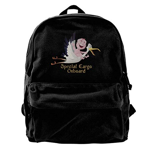School Travel Backpack, Classic Canvas Backpack Special Cargo Onboard Unique Print Style,Fits 14 Inch Laptop,Durable,Black