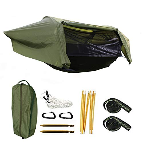 Camping Hammock Tent with Mosquito Net and Rain Fly for One Person Waterproof Breathable Portable for Hiking Fishing Outdoors Garden