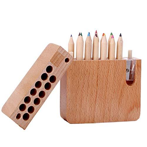 Juego de lápices de colores, 24 juegos de lápices de bocetos de madera natural con sacapuntas y lápiz Caja de madera para herramientas de pintura de artista pintor