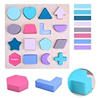 WONZOM 積み木 パズル 製パズル マッチングパズル 型はめ 積み木 知育パズル 教育玩具 男の子 女の子 幼児 教育 教材 色認識 脳トレ はめこみ 木のおもちゃ ブロック 知育 玩具 誕生日プレゼント