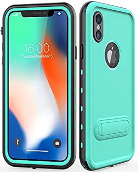 Diverbox Compatible iPhone X/XS Case Waterproof Durable Shockproof Cellphone Case with Kickstand and Wrist Strap Wireless Charging Supported,for Underwater Activity iPhone X/XS 5.8 in  Teal