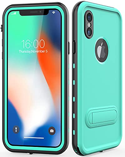 Diverbox Compatible iPhone X/XS Case Waterproof, Durable Shockproof Cellphone Case with Kickstand and Wrist Strap, Wireless Charging Supported,for Underwater Activity iPhone X/XS 5.8 in (Teal)