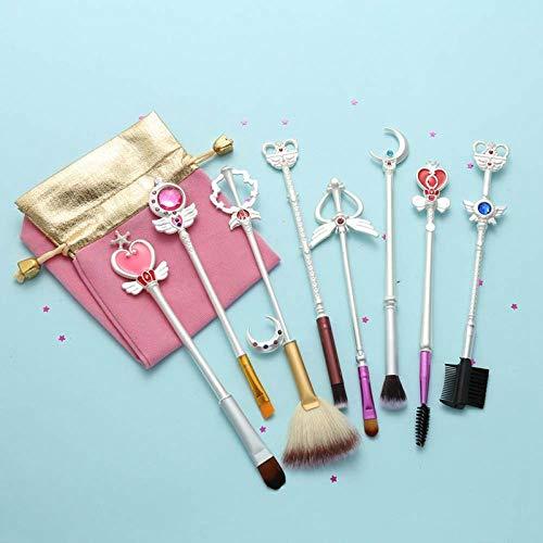 Terilizi 8 Pcs Or Sakura Sailor Moon Marque Pinceaux De Maquillage Ensemble Cosmétique Poudre Fondation Fard À Paupières Brosse Make Up Outil A