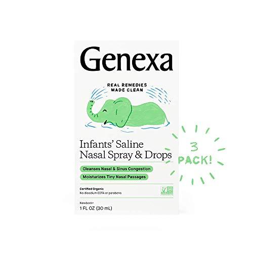 Genexa Infants' Saline Nasal Spray & Dropper - 1fl oz. (3pk) - Cleanse Mucus & Congestion - Certified Vegan, Organic, Gluten Free & Non-GMO