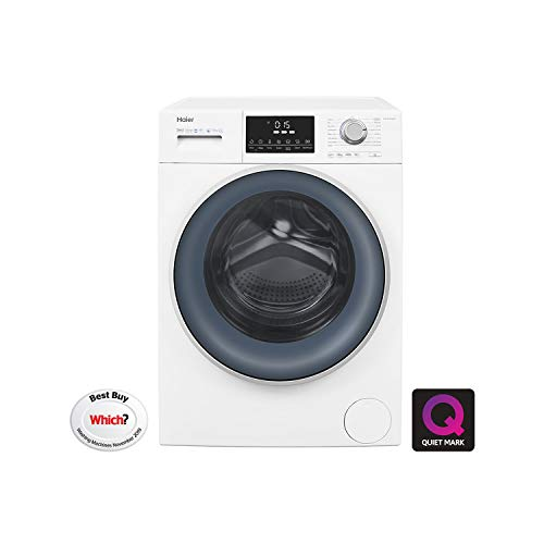 Haier HW120-B14876 Freestanding Washing Machine, Anti-Bacterial Direct Motion, 1400 RPM, 12kg Load, Washing Machine, White