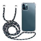 MyGadget Cover Trasparente con Cordino per Apple iPhone 12 PRO Max - Custodia Bumper Cordoncino - Case Angoli Rinforzati con Laccio Tracolla - Nero Camouflage