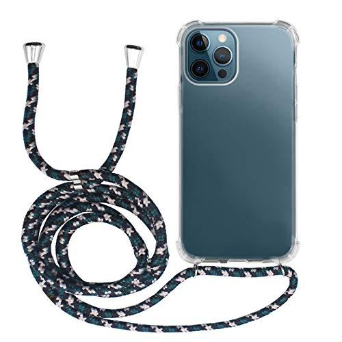 MyGadget Funda Transparente con Cordón para Apple iPhone 12 Pro MAX - Carcasa Cuerda y Esquinas Reforzadas en Silicona TPU - Case y Correa - Negro Camuflaje