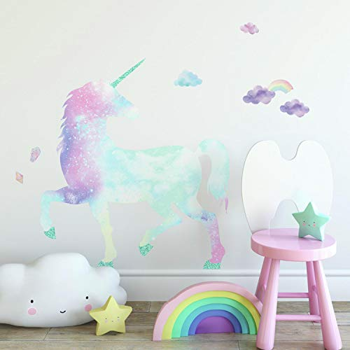 RoomMates Galaxy Unicorn Peel And Stick Giant Wall Decal With Glitter , pink, blue, purple, aqua , 1 Sheet at 36.5 inches x 17.25 inches and 1 Sheet at 9 inches x 36.5 inches - RMK3845GM