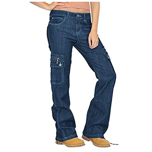 LOPILY Hose Damen Jeans Cargohosen Weites Bein Locker Bundhosen High Waist Chinohosen Freizeithosen Denim Jerseyhosen Damen Schlupfhosen Lose Casual (Dunkelblau, 2XL)