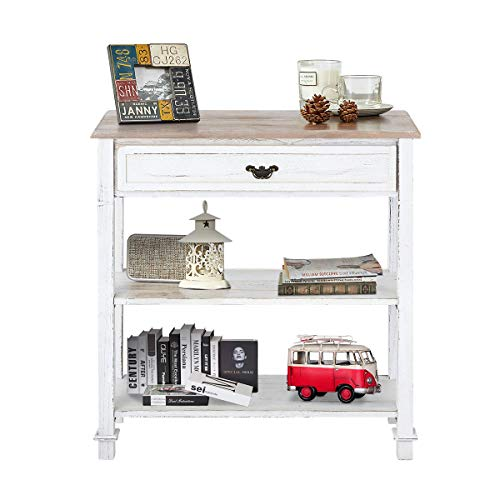 MELLCOM Console Table Entryway Table 3 Tiered Sofa Table Classic Design with Drawer and Opening Shelves, Entryway Hall Table, Sofa Tables Narrow Easy Assembly