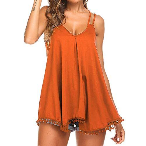 ODJOY-FAN Tank Tops Damen Weste Blusen T-Shirts Flowy V-Ausschnitt Beiläufig Sexy Sommer Schulterfrei Ärmellos Tops Bluse(Orange,S)