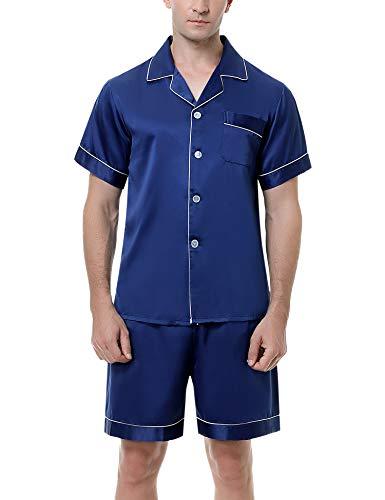 Ireval Pijama Hombre Verano Cortos de Seta,Cómodo Manga Corta Botones Camiseta y Pantalón con cordón y Bolsillos Ropa de Dormir 2 Piezas
