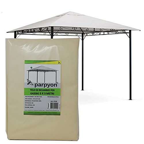 parpyon® Telo Gazebo 3X3 Copertura in Tessuto Poliestere 100% - Telo per Gazebo da Giardino Esterno Vari Modelli – mt 3x3-3x4-3x2 Colore Beige arredo Giardino (3X3 Style)