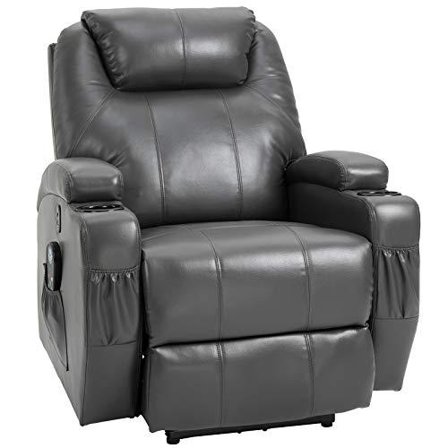 HOMCOM Electric Power Massage Recliner Chair Waist Heating Reclining Sofa Lounger with 8-Point Vibration, Dark Grey