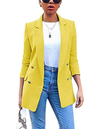 Minetom Damen Cardigan Elegant Blazer Langärmliger Anzugjacke Einfarbig Blazer Business Slim Fit Bolero Jacke Anzug Trenchcoat Gelb 36