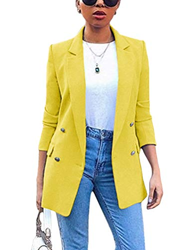 Minetom Donna Manica Lunga Colletto Cappotto Elegante Ufficio Business Blazer Top Gilet Corto OL Carriera Tailleur Giacca Giallo 38