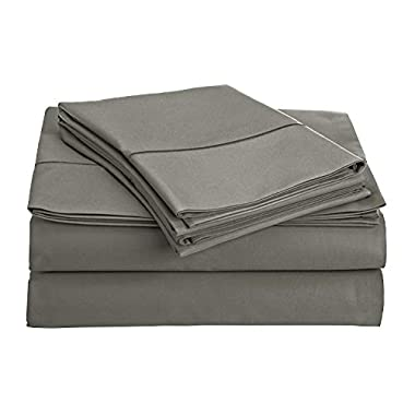 CHATEAU HOME COLLECTION 800-Thread-Count Egyptian Cotton Deep Pocket Sateen Weave King Sheet Set, Charcoal
