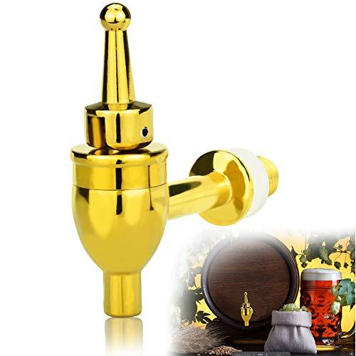 YUSHIWA Grifo de Barril de Vino Válvula de Barril de Latón Sellado Grifo de Cerveza para Jugo, Dispensador de Bebidas (Dorado, 12 mm)