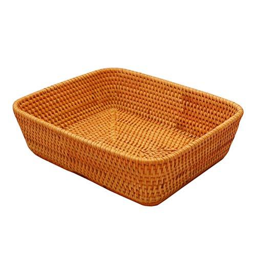 Rectangular Caja de Fruta de Cesta de Mimbre Bandeja Multiusos Pan Hecho a Mano y de Gran Cesta Vegetal del envase, Cesta de Almacenamiento de residuos (tamaño : L)