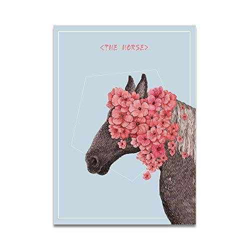 Sin Marco-Nordic Poster Art Flower Deer Horse Animal Baby Room Decor Print Wall Art Pintura al óleo Lienzo...
