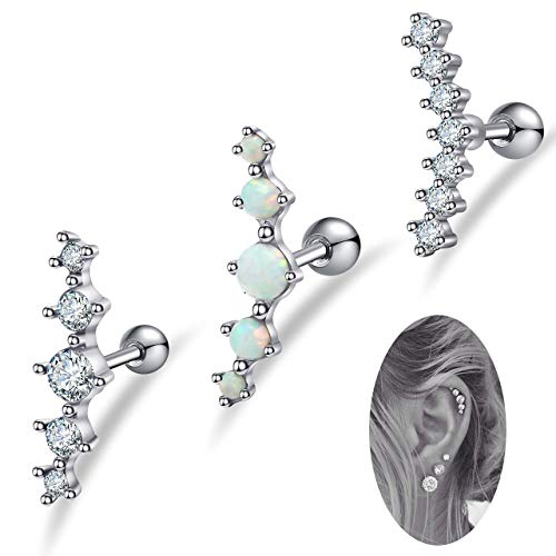 16G Stainless Steel Cartilage CZ Stud Earrings by Fibo Steel