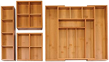 Seville Classics Expandable Bamboo Drawer Organizer & Assorted Tray Set