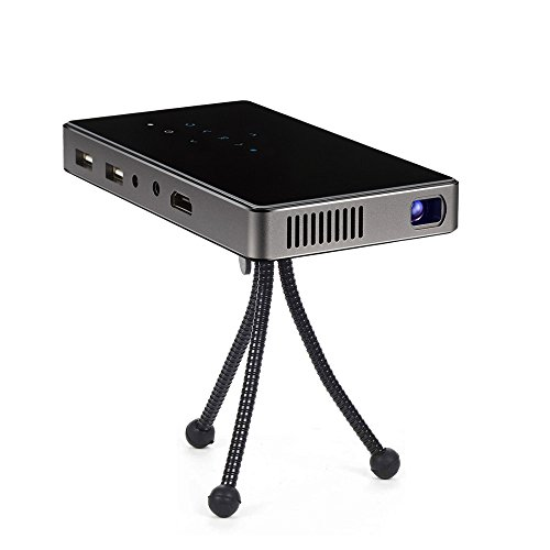 AMOXUN P8 Mini Projector with Battery, DLP Office Home Theater Mobile Projecting, HDMI Bluetooth WiFi Wireless Connectivity, Support 1080P HD 120inch Display, Pocket Portable 5000mAh Power Bank