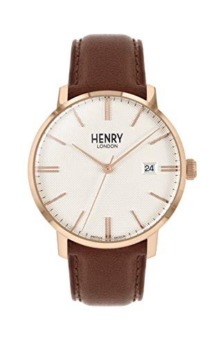 Henry London Orologio Analogico Quarzo Unisex Adulto con Cinturino in Pelle HL40-S-0348