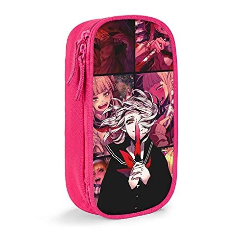 My Hero Academia Cross My Body Himiko Toga Anime Estuche de gran capacidad, bolsa de papelería, caja de papelería multifunción, bolsa para bolígrafos para hombres jóvenes y mujeres, color rosa