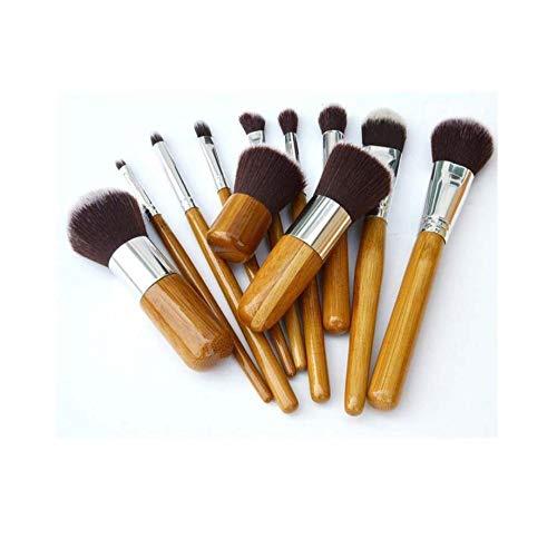 11pcs ensemble de brosse de poignée de brosse en bambou, sac de lin de protection de l'environnement, outils de beauté-A1