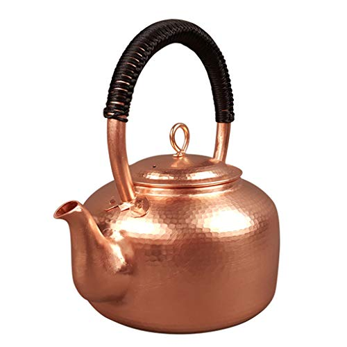 Bouilloire Théière en cuivre épaisse Eau bouillante Cuve en cuivre Authentique en cuivre Pur à la Main en cuivre électrique WHLONG
