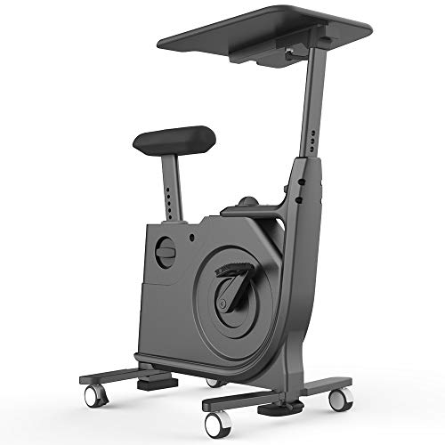 V-FIRE Indoor Cycling Bike, Standing Desk Exercise Bike with Fully Adjustable Magnetic for Home, Office, Sport and Workout (Black (STMOO1BLK))