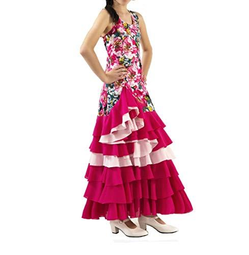 ANUKA Vestido de Mujer para la Danza Flamenco o sevillanas. Made in Spain (Rosa Fucsia, L)